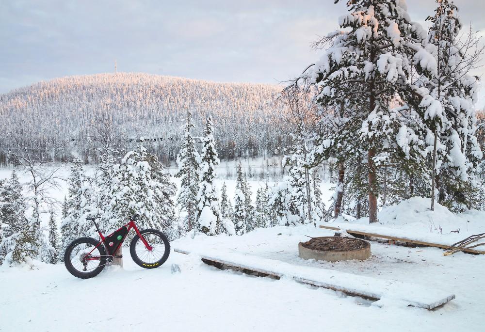talvipyöräily, fatbike, pyöräreitti, laavu